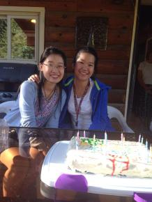 The Chens, Xiaoying and Yijun, celebrated their birthdays with cake and ice cream at Professor Clem Work's mountain home on Huckleberry Lane.