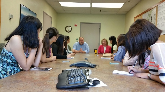 Missoula Mayor John Engen answers students' questions during an exclusive interview with the class. Clem Work photo.